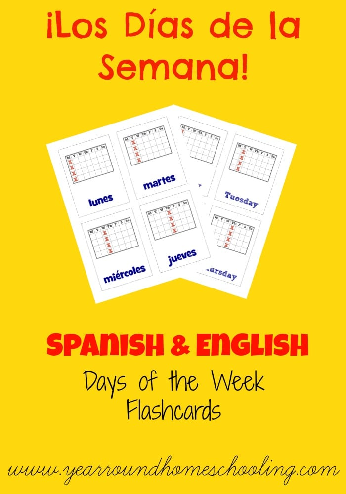 Spanish Days of the Week Flashcards