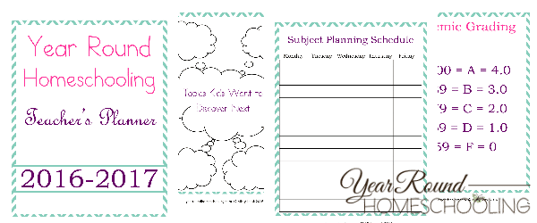 Year Round Homeschooling Teacher's Planner