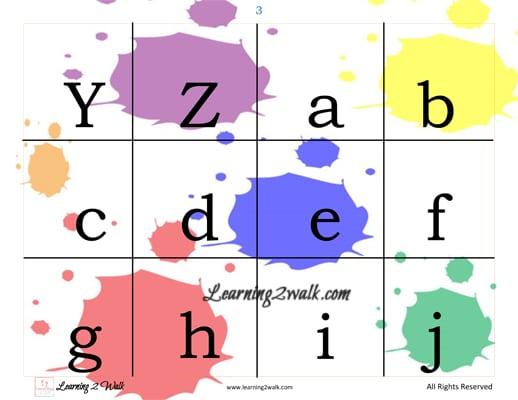 colours theme alphabet cards