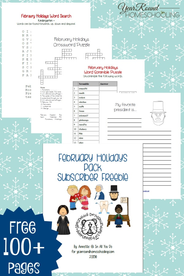 FREE February Holidays Printable Pack