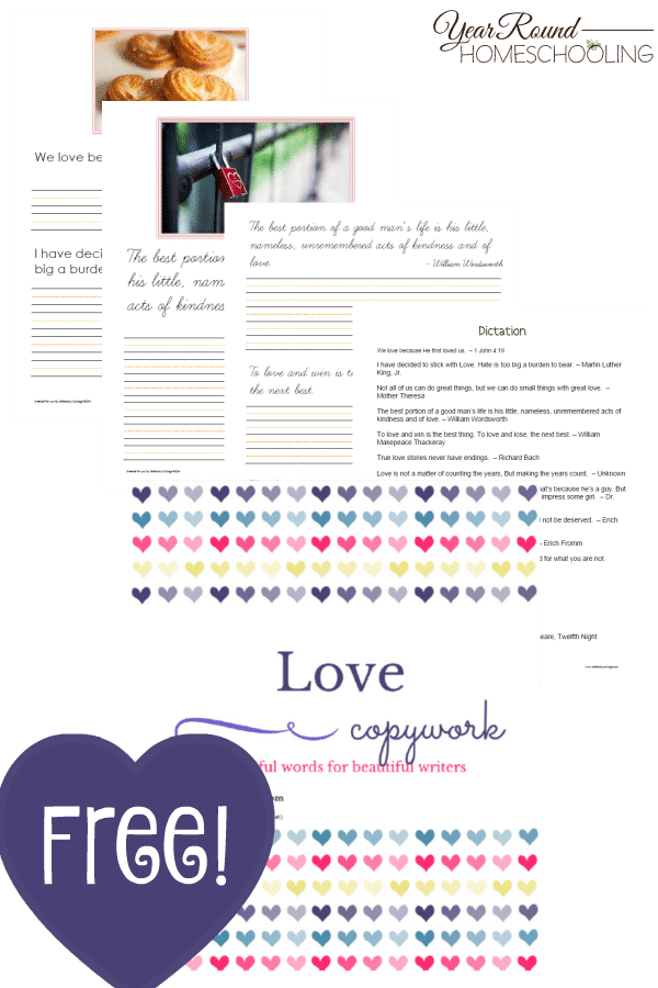 Valentine's Day, copywork, homeschool, homeschooling, printable, worksheets