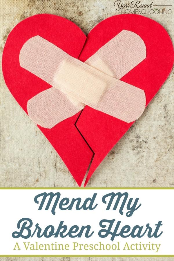 broken heart, valentine, preschool, activity, homeschool, homeschooling
