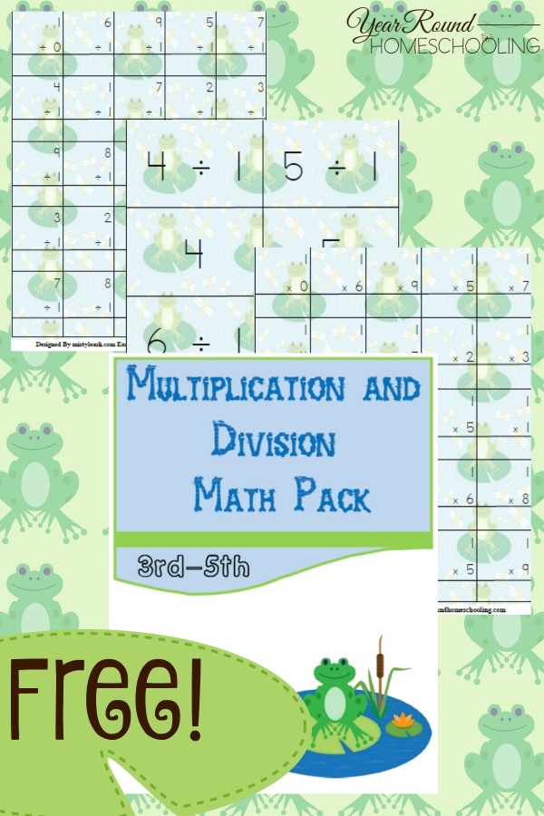 frog, spring, math, multiplication, division, 3rd-5th, homeschool, homeschooling, printable, worksheets