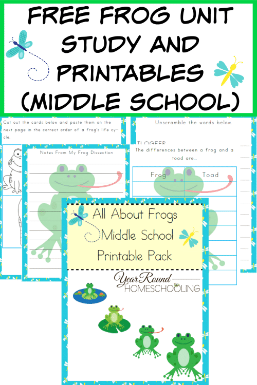 Free Frog Unit Study and Printables (Middle School) - Year ...