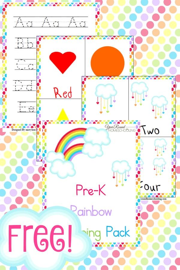 rainbow, preschool, prek, spring, homeschool, homeschooling, printable, worksheets