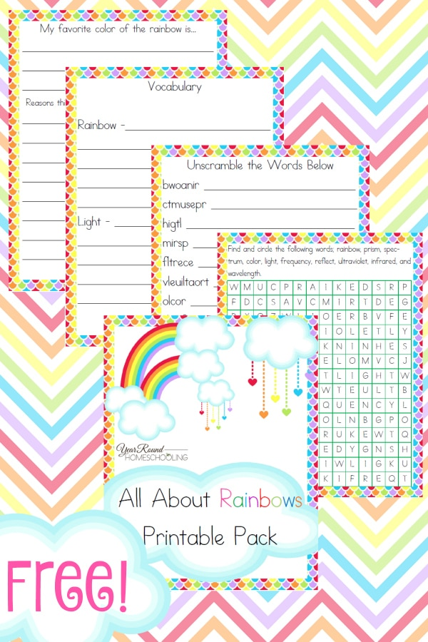 rainbow, spring, middle school, homeschool, homeschooling, printable, worksheets