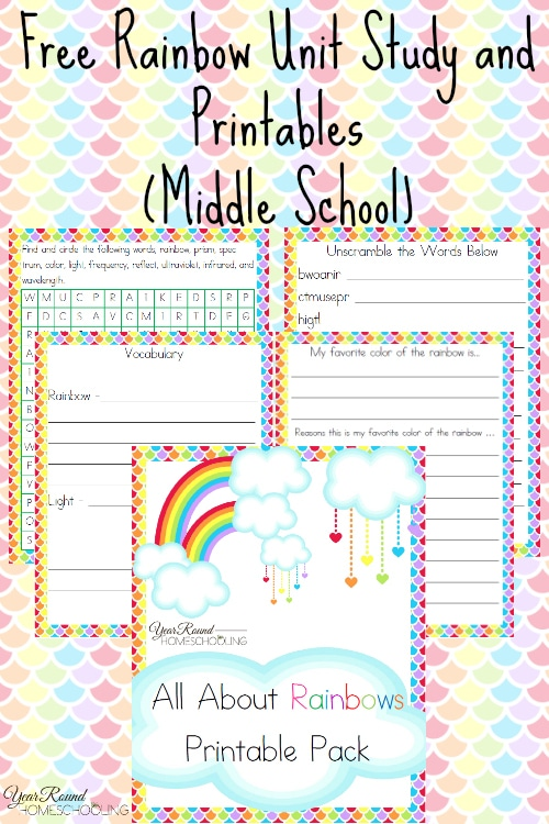 Middle School Rainbow Printable Pack