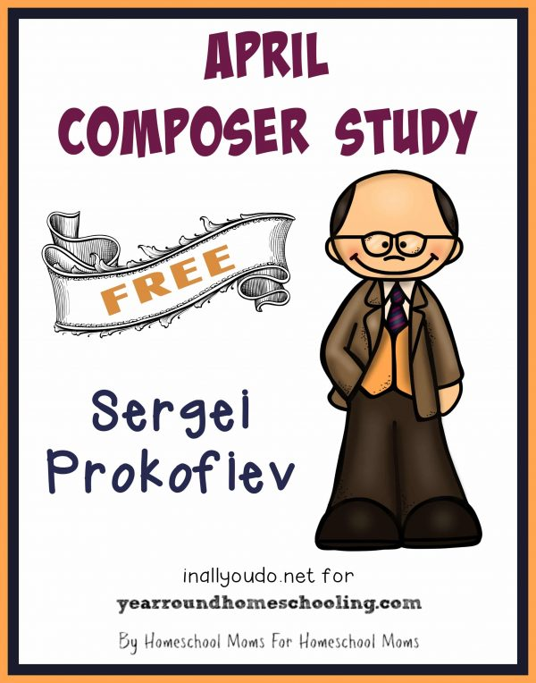 Learn more about one composer each month. April is Sergei Prokofiev. Pack includes bio page, poster page, word search, notebooking pages & MORE!! :: yearroundhomeschooling.com