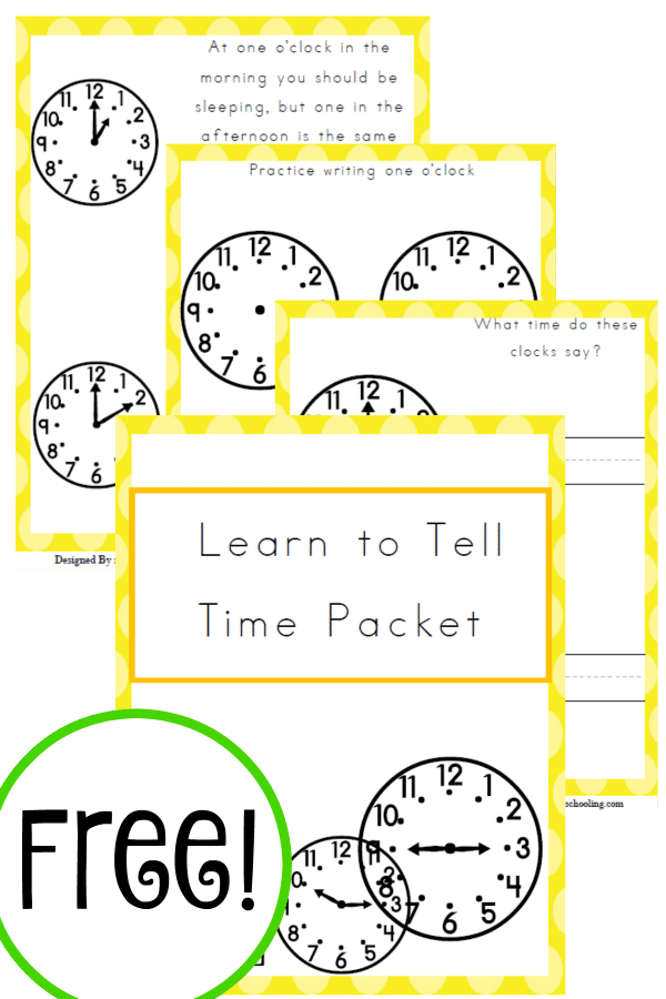 time, time telling, learn to tell time, homeschool, homeschooling, printable