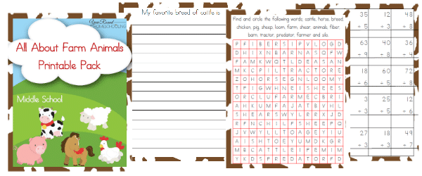 Free Farm Animals Unit Study and Printables (Middle School)