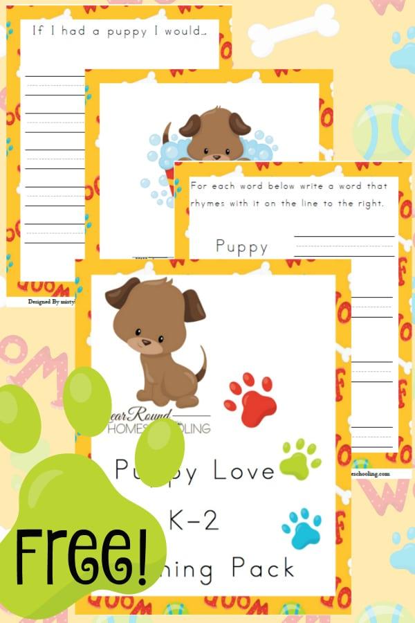 puppy, dog, K-2, kindergarten, homeschool, homeschooling, printable, worksheets