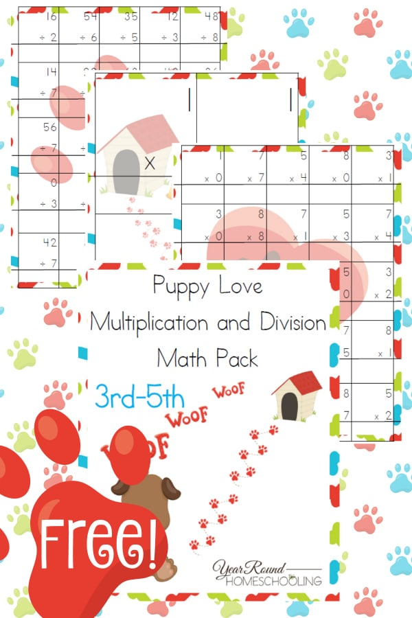 puppy, dog, elementary, math pack, homeschool, homeschooling, worksheets, printable