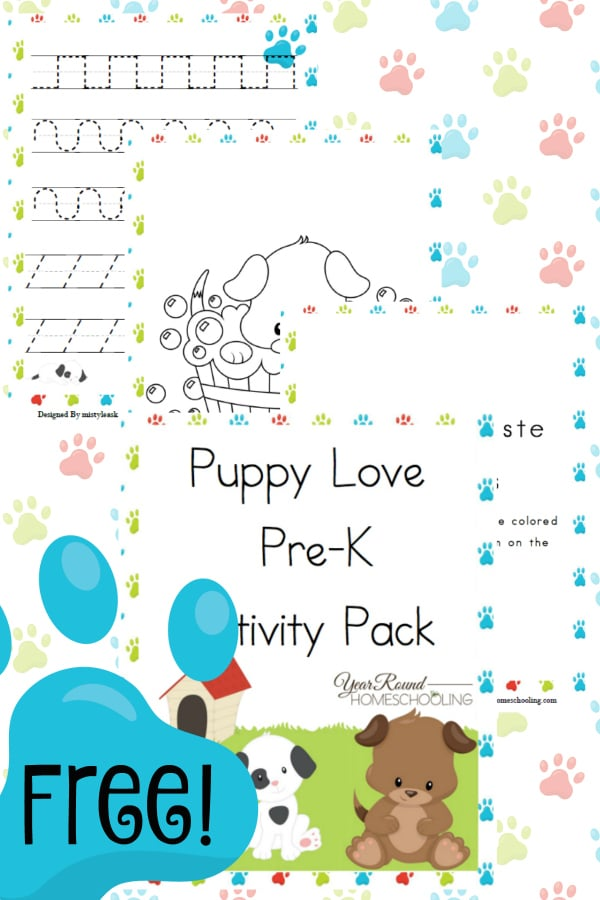 puppy dog prek preschool homeschool homeschooling printable worksheets