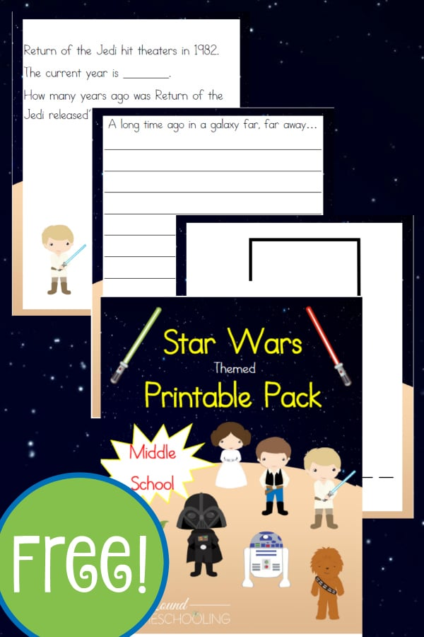 star wars, star wars middle school, 6th-8th grade, homeschool, homeschooling, worksheets, printable