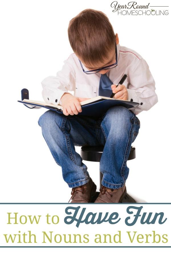 nouns, verbs, language arts, writing, english, homeschool, homeschooling