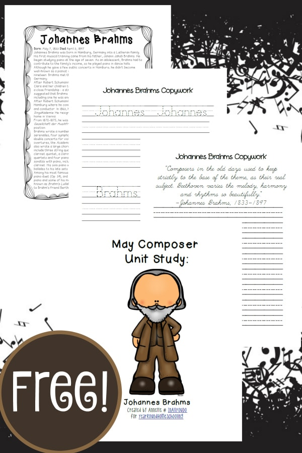 Learn more about one composer each month, in our Monthly Composer Studies. May is Johannes Brahms.. Pack includes bio page, poster page, word search, notebooking pages & MORE!! :: yearroundhomeschooling.com