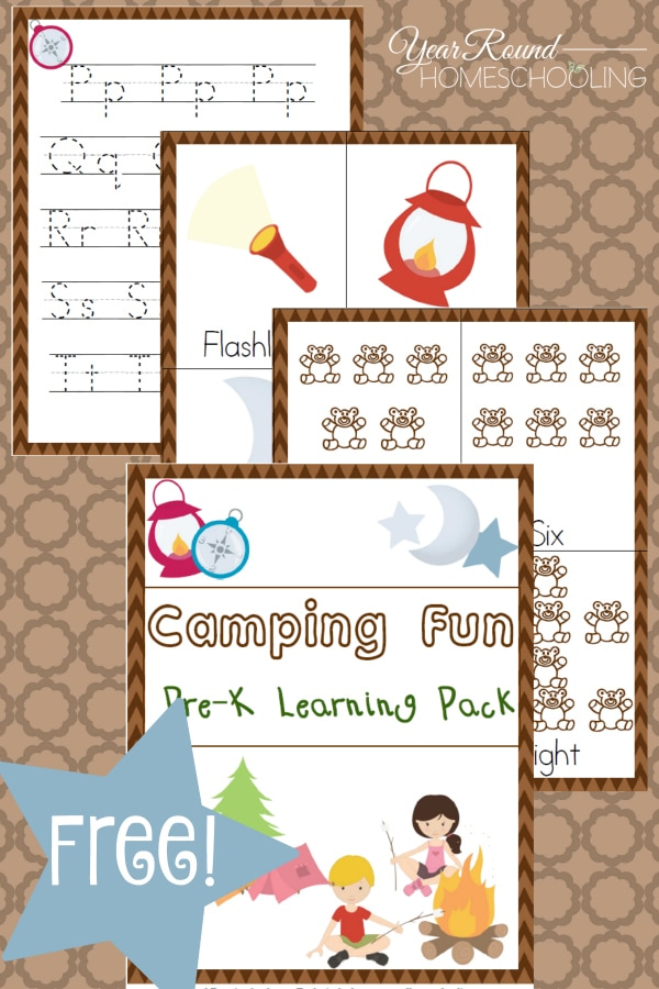 Free Camping Fun Pre K Learning Pack Year Round Homeschooling