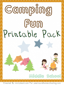 Free Camping Fun Unit Study and Printable Pack (Middle School)
