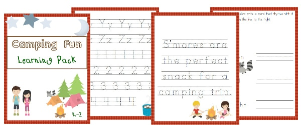 camping, kindergarten, k-2, homeschool, homeschooling, worksheet, printable