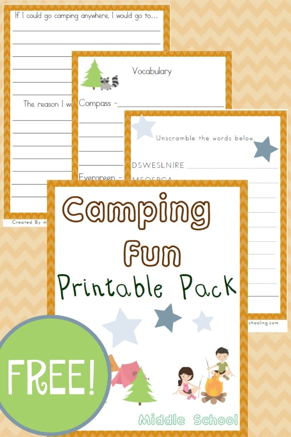 camp, camping, camping unit study middle school,, homeschool, homeschooling, worksheet, printable