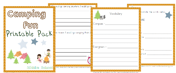 camp, camping, camping unit study middle school,, homeschool, homeschooling, worksheet, printable