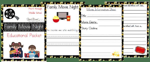 movie night, family movie night, homeschool, homeschooling, printable