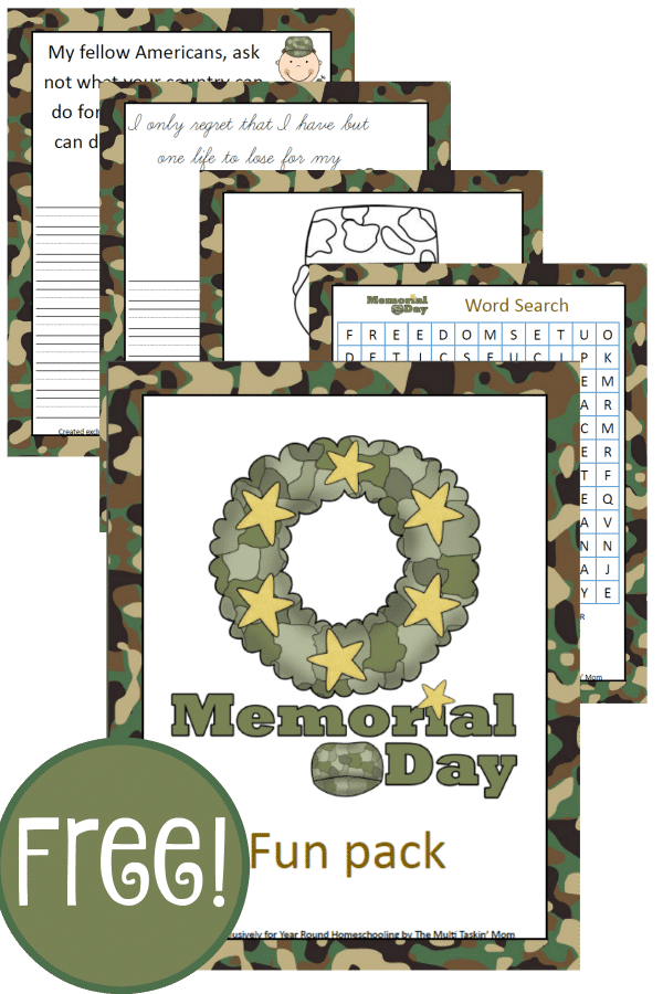 Memorial Day, military appreciation, military, homeschool, homeschooling, worksheet, printable