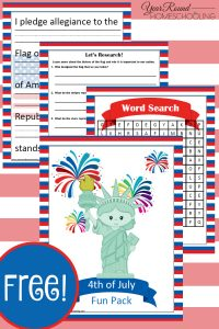 4th of July printable. 4th of July pack, 4th of July homeschooling, 4th of July homeschool, 4th of July, homeschool, homeschooling, printable