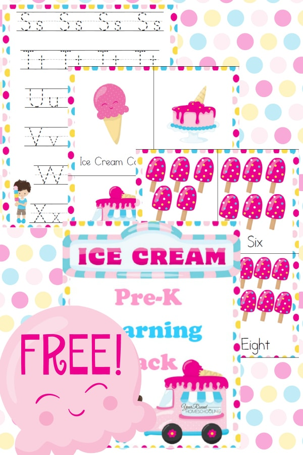 Free Ice Cream Pre-K Learning Pack - Year Round Homeschooling