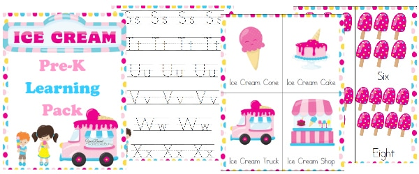 Free Ice Cream Pre-K Learning Pack