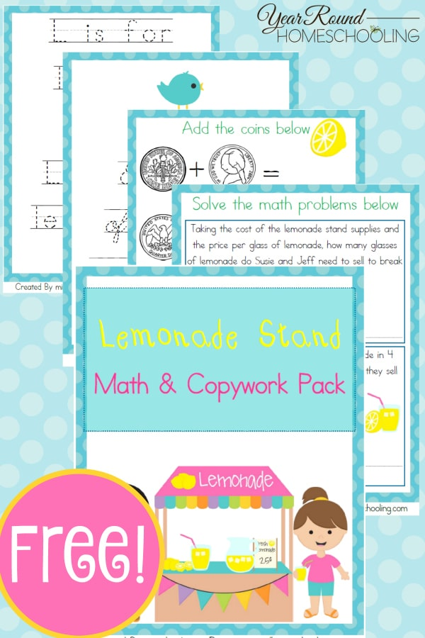 lemonade stand, lemonade stand math, math, copywork, homeschool, homeschooling, printable, worksheet