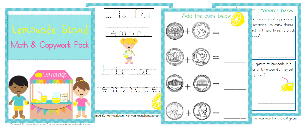 Free Lemonade Stand Math & Copywork Pack