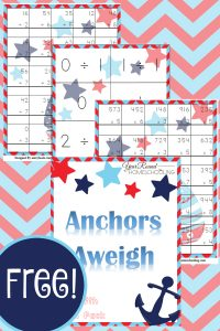 nautical, nautical math, 3rd-5th grade, elementary, math, multiplication, division, homeschool, homeschooling, worksheets, printable