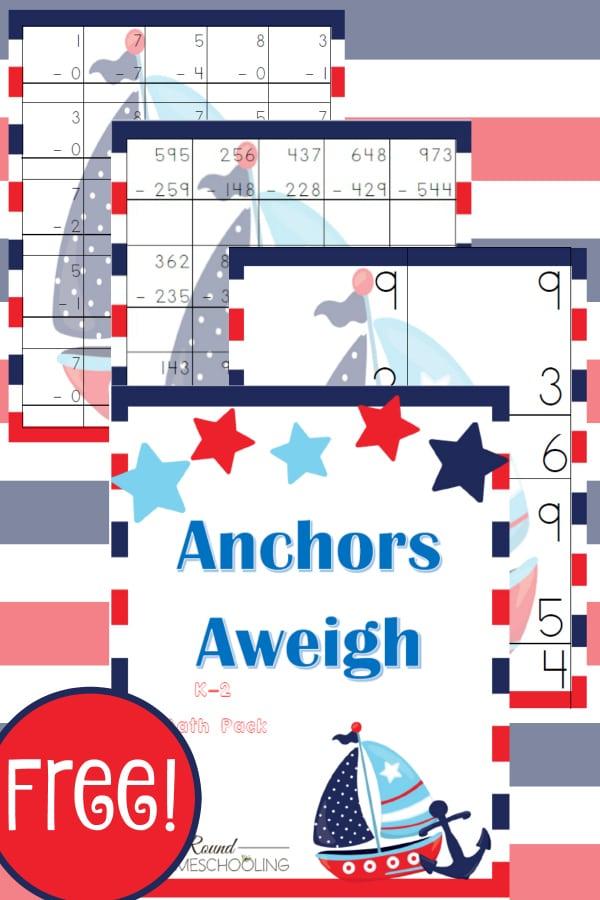 nautical, math, kindergarten, k-2, homeschool, homeschooling, worksheets, printable