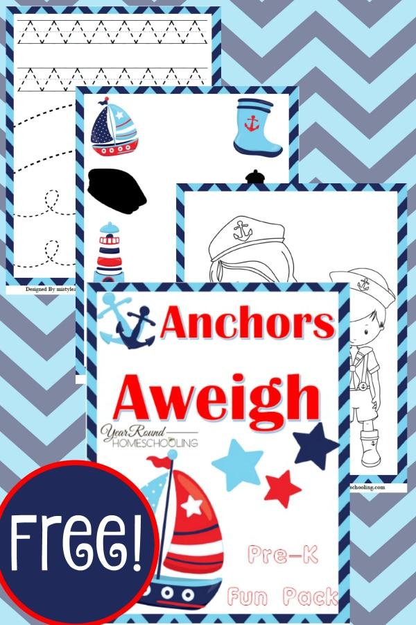 nautical, prek, preschool, homeschool, homeschooling, printable, worksheets