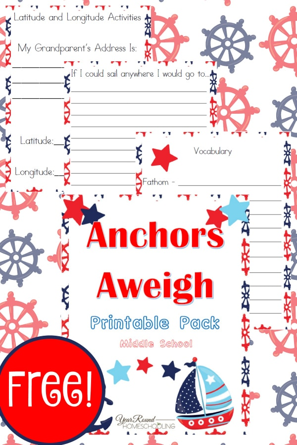 nautical unit study, nautical terms, nautical lessons, nautical study for middle school, homeschool, homeschooling, worksheets, printable