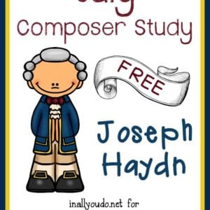 "This month we're studying Joseph Haydn, the ""Father of Classical Music"" and composer of ""Claire de Lune"". Includes FREE Printables! :: www.yearroundhomeschooling.com"
