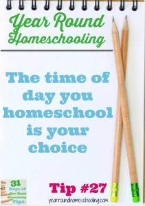 Year Round Homeschooling Tip #27