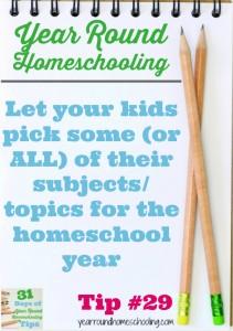 Year Round Homeschooling Tip #29