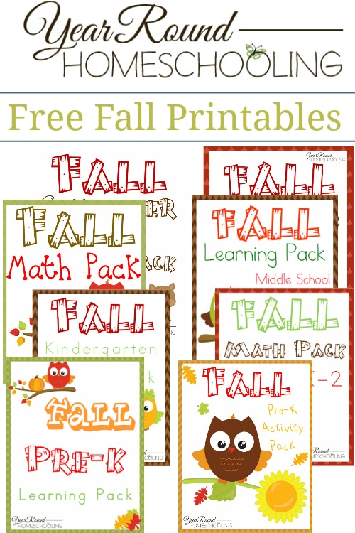Free Fall Printables - By Year Round Homeschooling