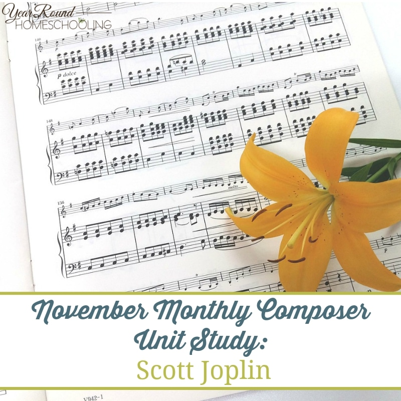 "In this months composer music study, you can learn all about the ""King of Ragtime,"" Scott Joplin. He packed in some amazing music in his short life. Download and learn more! :: www.yearroundhomeschooling.com"