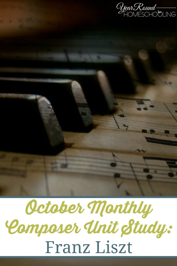 This FREE October Monthly Composer Unit Study: Franz Liszt helps you study one composer at a time through different musical eras. A fun, easy way to learn more about them! :: www.yearroundhomeschooling.com