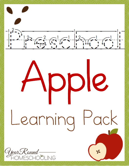 Free Preschool Apple Learning Pack Year Round Homeschooling