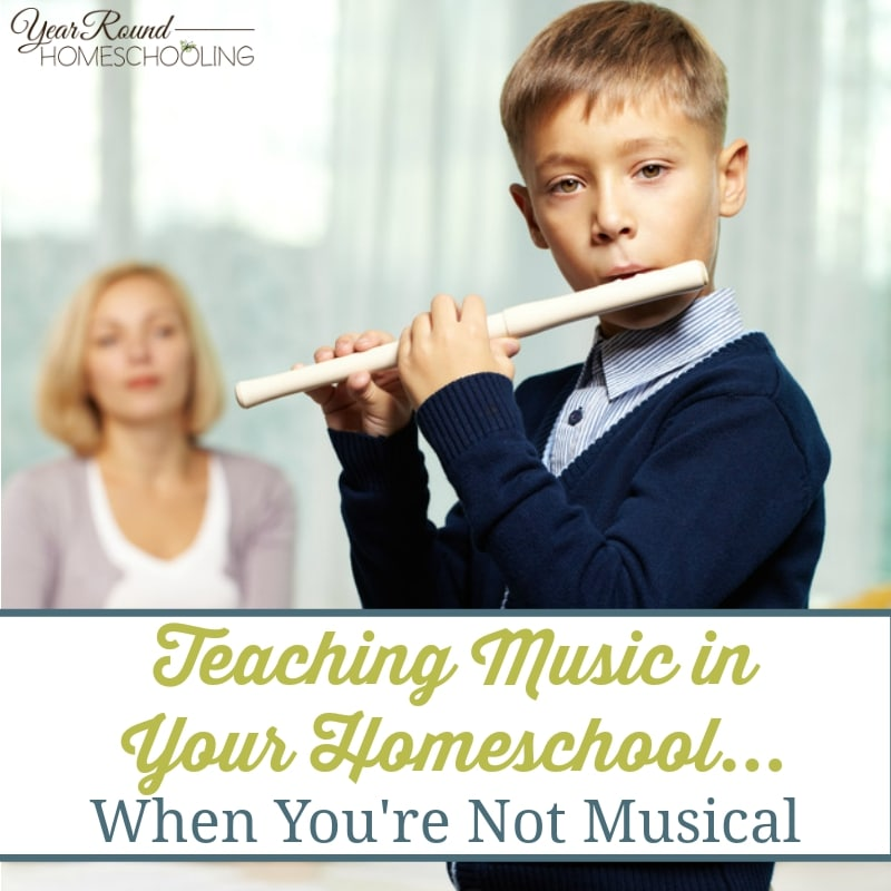 If you're not a musical person, teaching music in your homeschool can seem impossible. Try these 4 simple tips to help bring music to your homeschool! :: www.yearroundhomeschooling.com