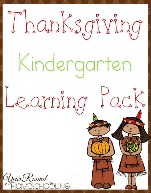 Free Thanksgiving Kindergarten Learning Pack Year Round Homeschooling