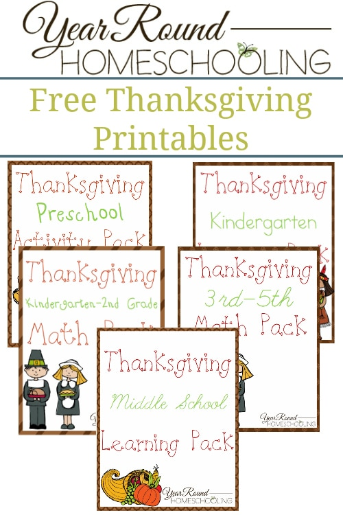 Free Thanksgiving Printables - By Year Round Homeschooling