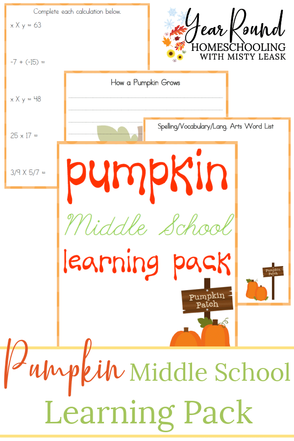pumpkin middle school learning pack, pumpkin middle school pack, middle school pumpkin learning pack, middle school pumpkin pack