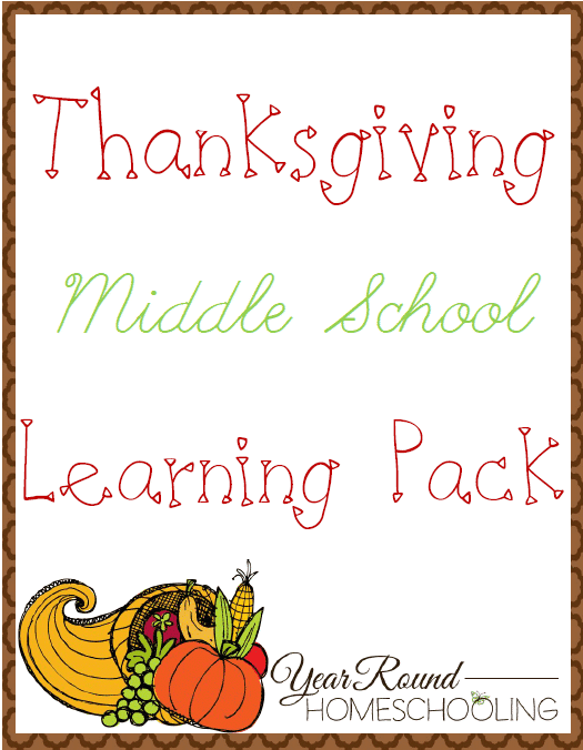 Thanksgiving Middle School Learning Pack