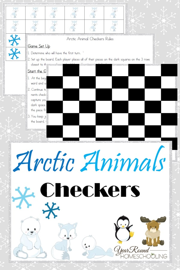 Arctic Animal Checkers - By Year Round Homeschooling