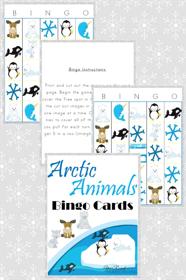 Arctic Animals Bingo Cards - By Year Round Homeschooling